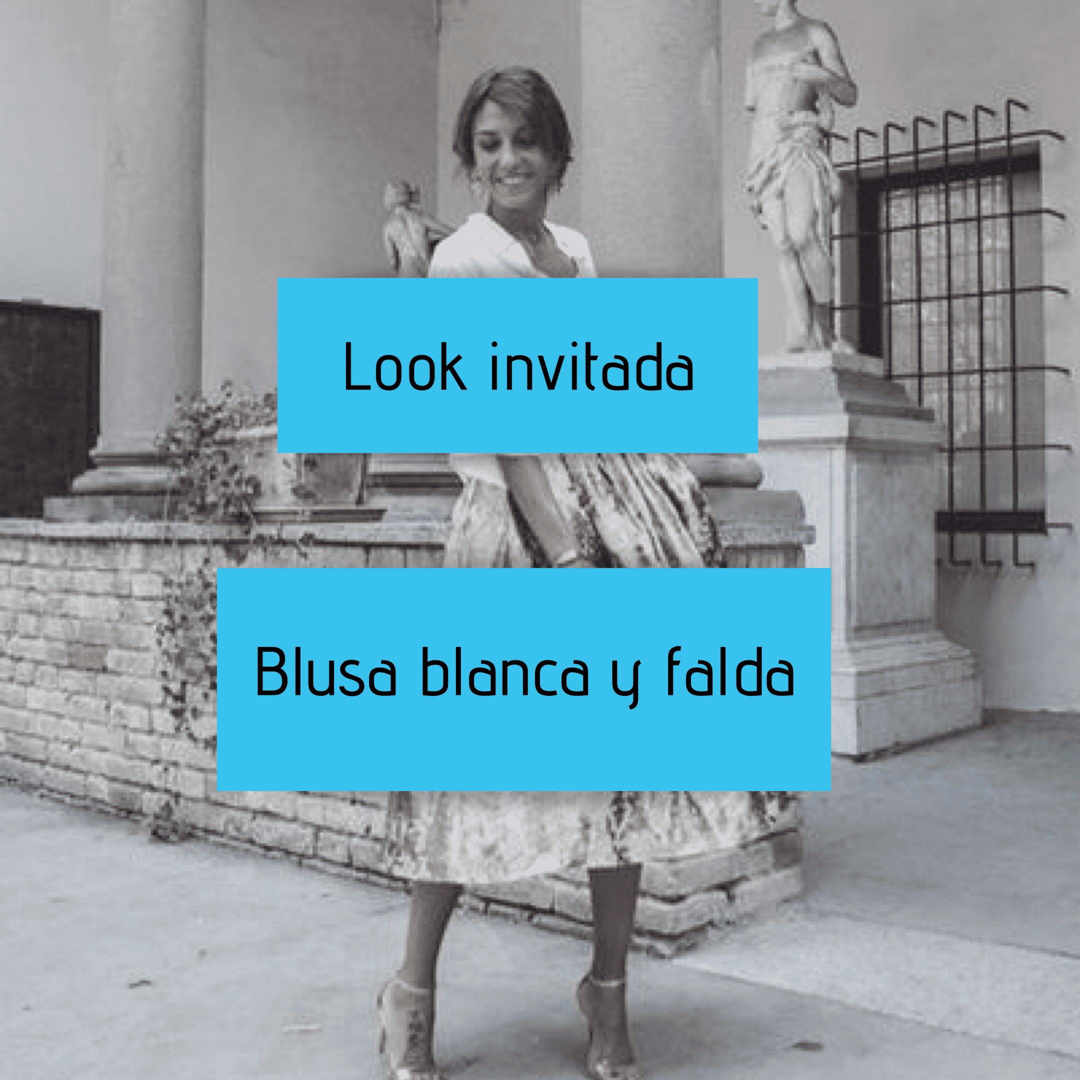 Look invitada- blusa blanca y falda