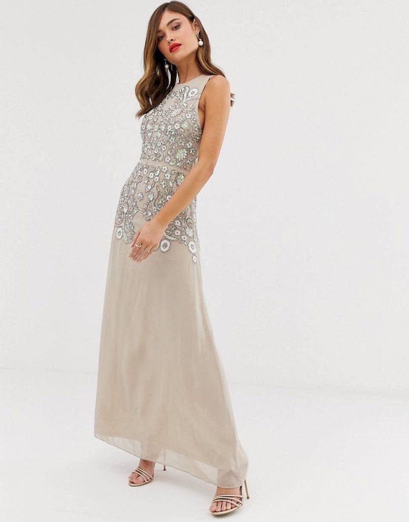 vestido largo para boda de noche