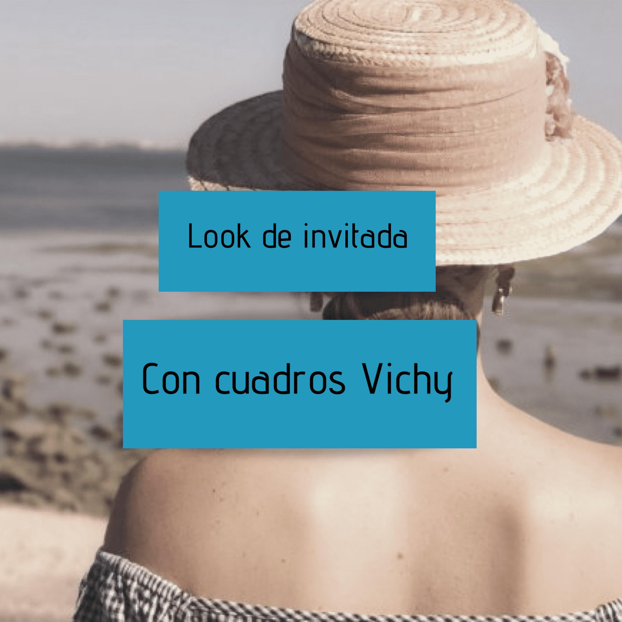 Look de invitada con cuadros Vichy