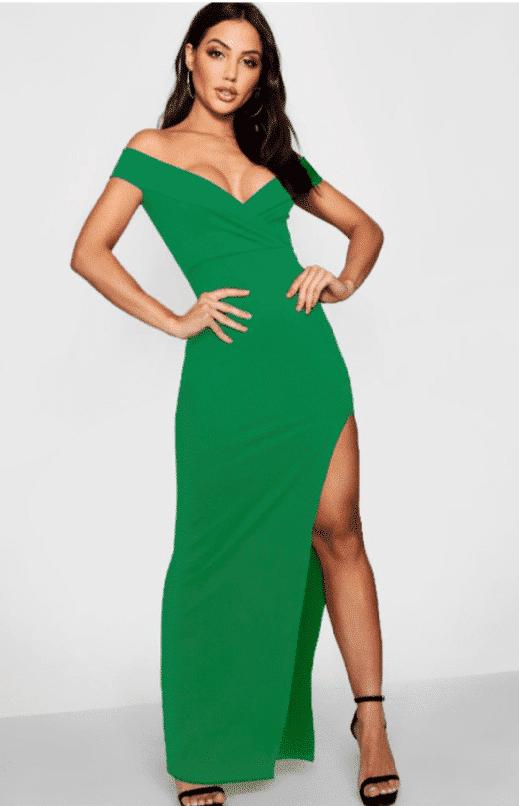 vestido largo verde boohoo